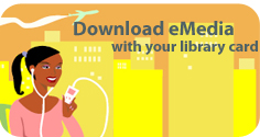 CLEVNET eMedia - Download eMedia with your library card - girl with ipod on yellow city background
